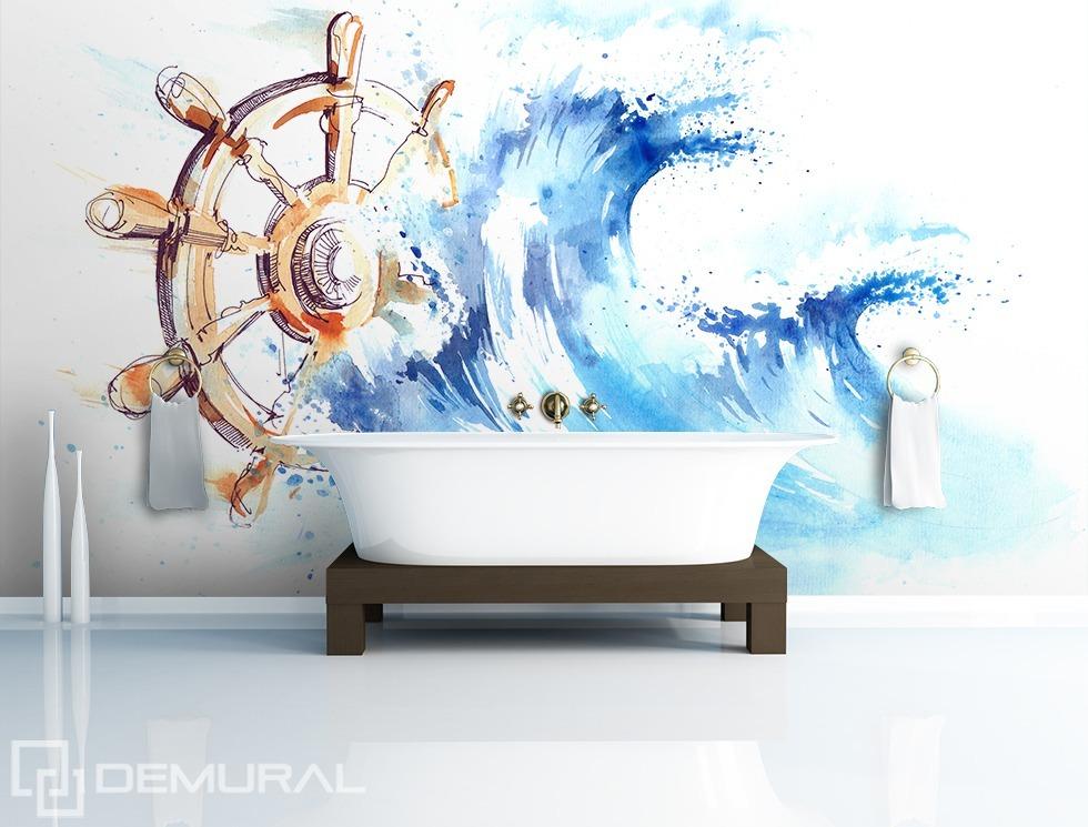 """""""Tiens le gouvernail"""" - papier peint pour la salle de bains"""