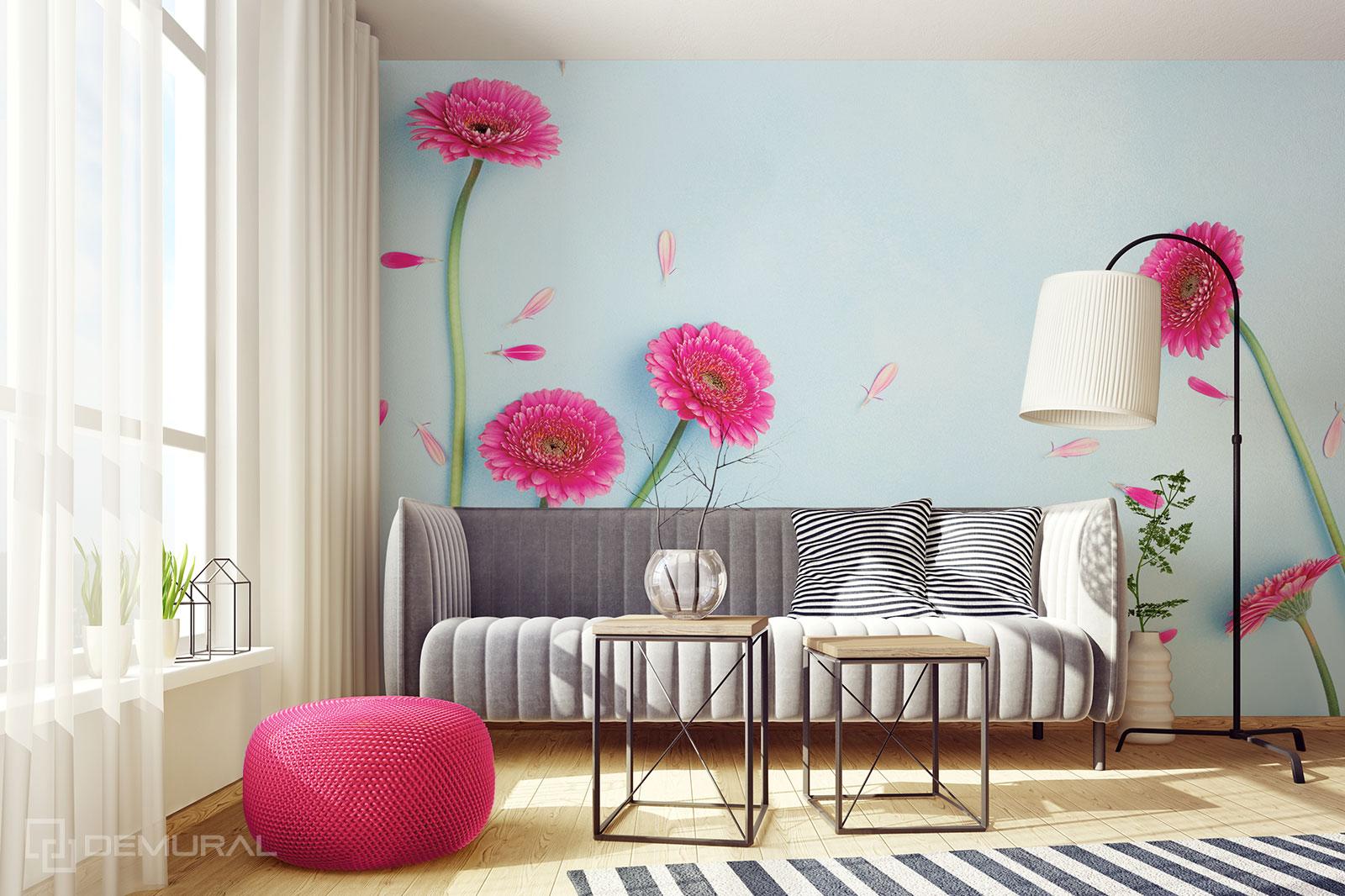 Papier peint Gerberas roses - Décorations florales - Demural