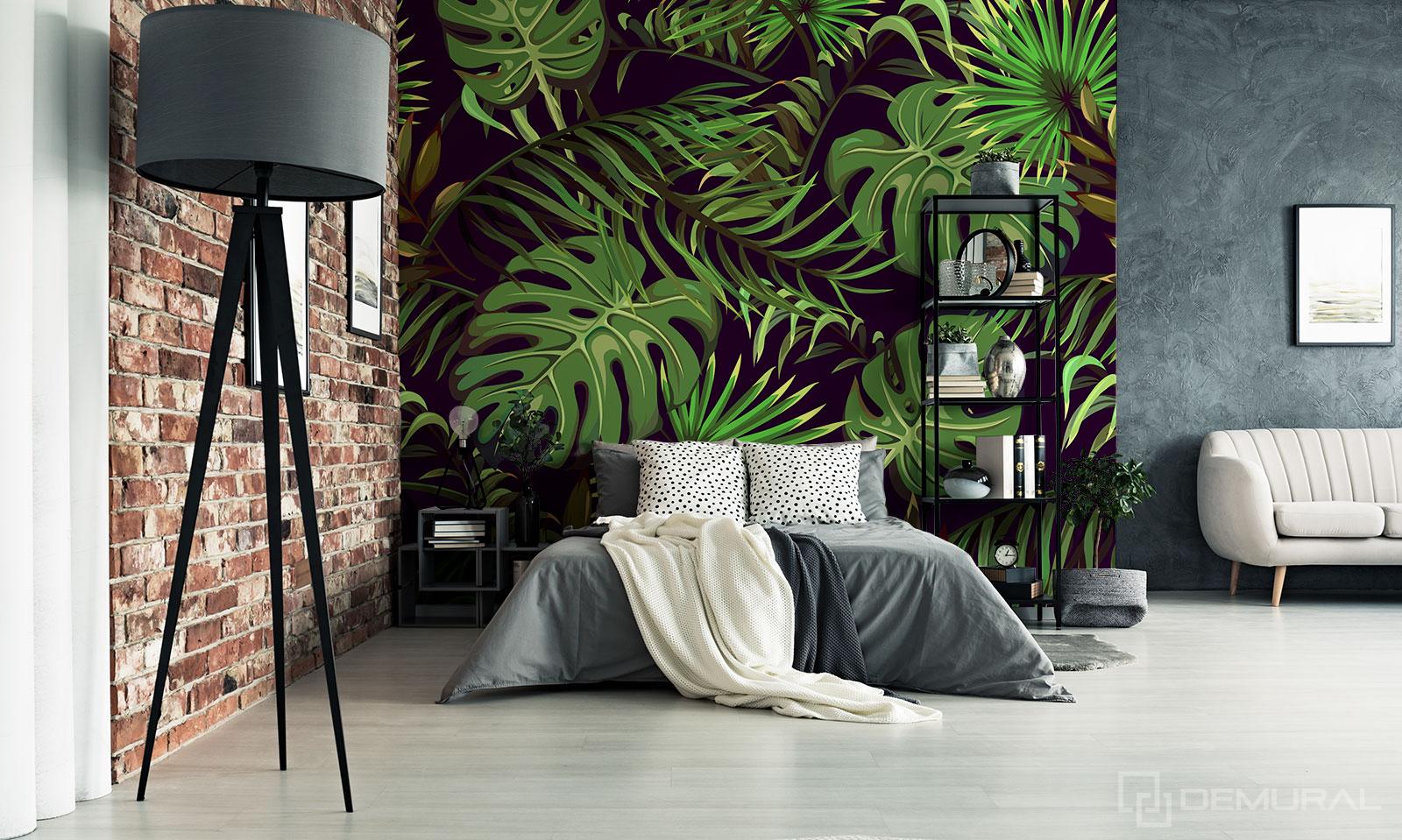 Papier peint un jardin mystérieux - Papier peint feuilles tropicales