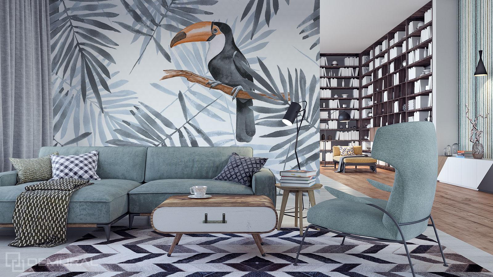 Papier peint Exotisme monochrome - feuilles tropicales - Demural