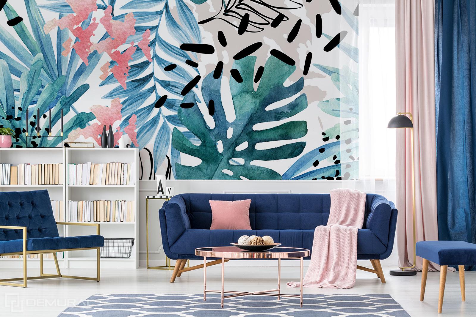 Papier peint Jungle pastel - feuilles tropicales - Demural