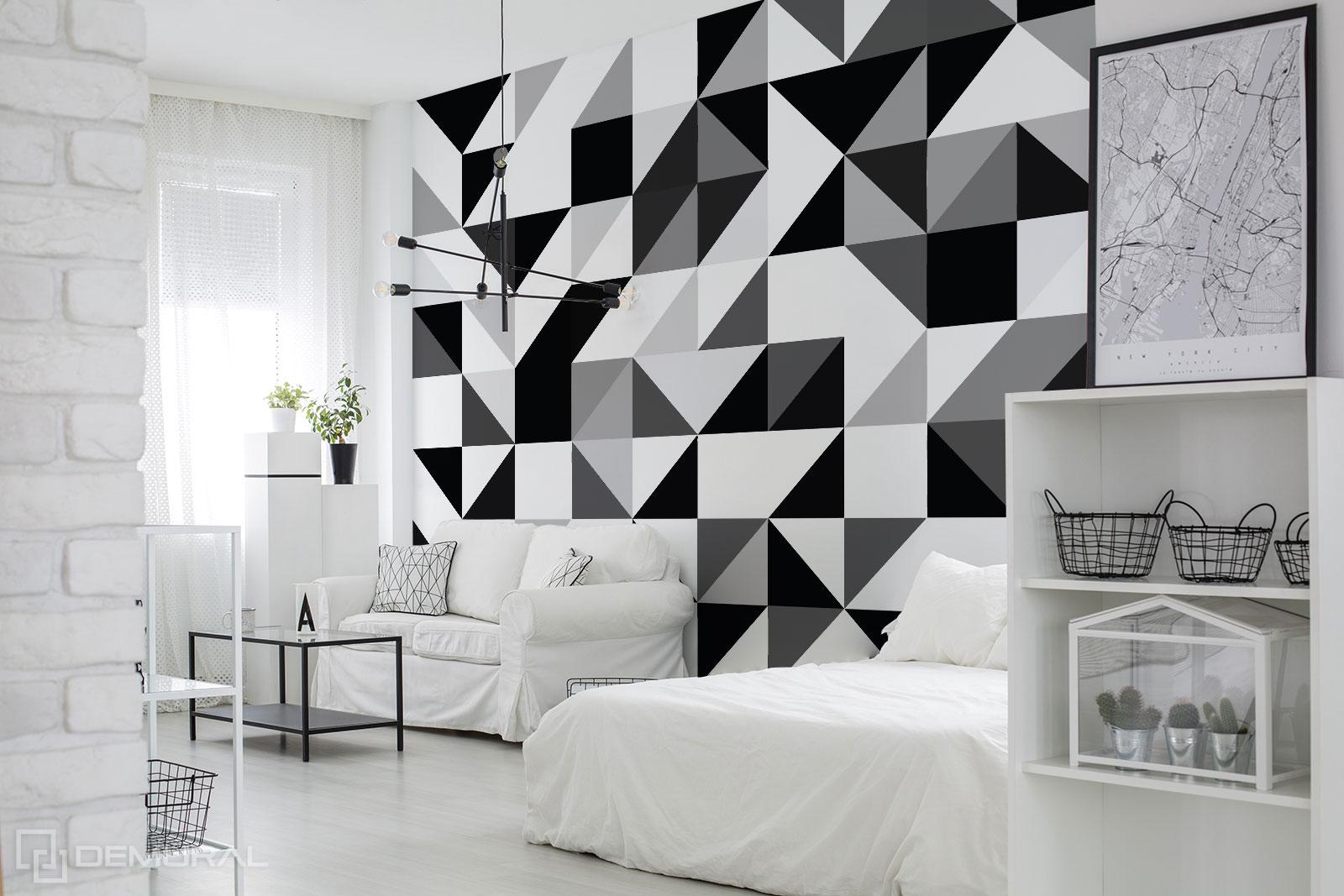 Papier peint formes noires et blanches - Papier peint géométrique - Demural