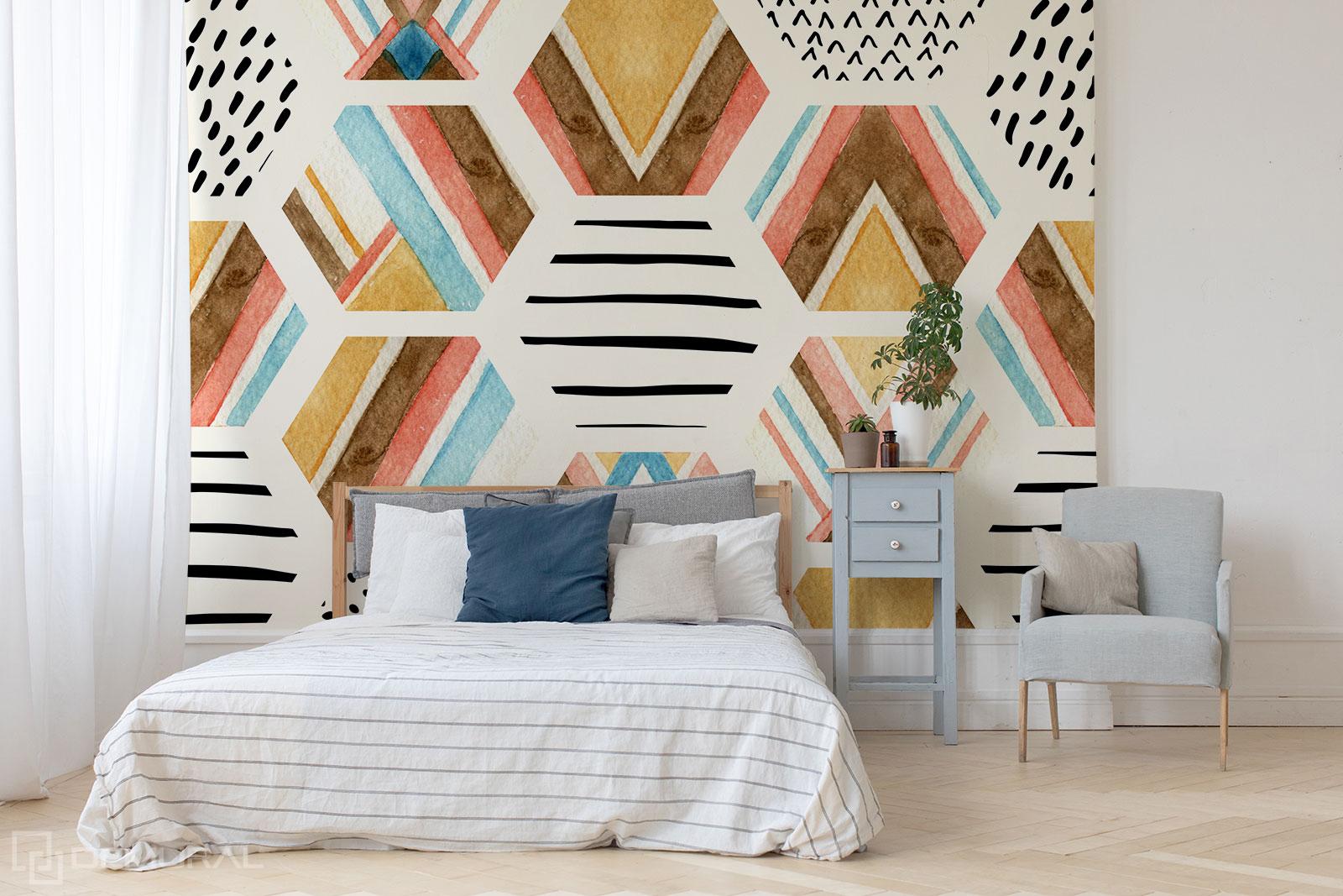 Papier peint aquarelle géométrique - Papier peint géométrique - Demural