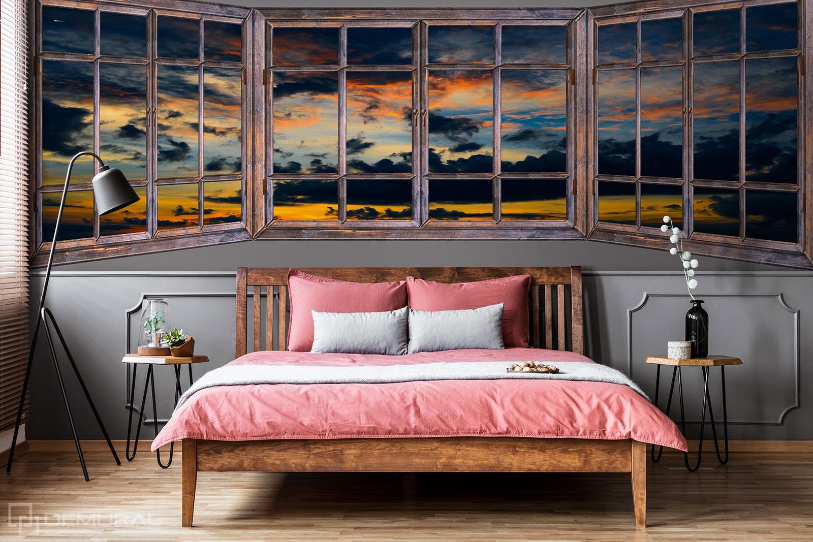 Papier peint Coucher de soleil en dehors de la fenêtre - Papier peint Fenêtre - Demural