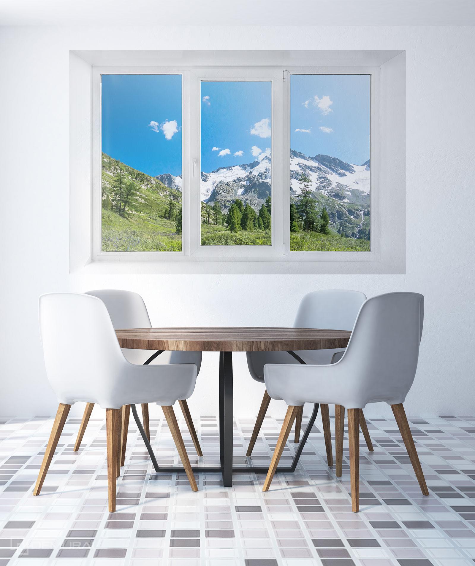 Papier peint Dans un chalet de montagne - Papier peint Fenêtre - Demural