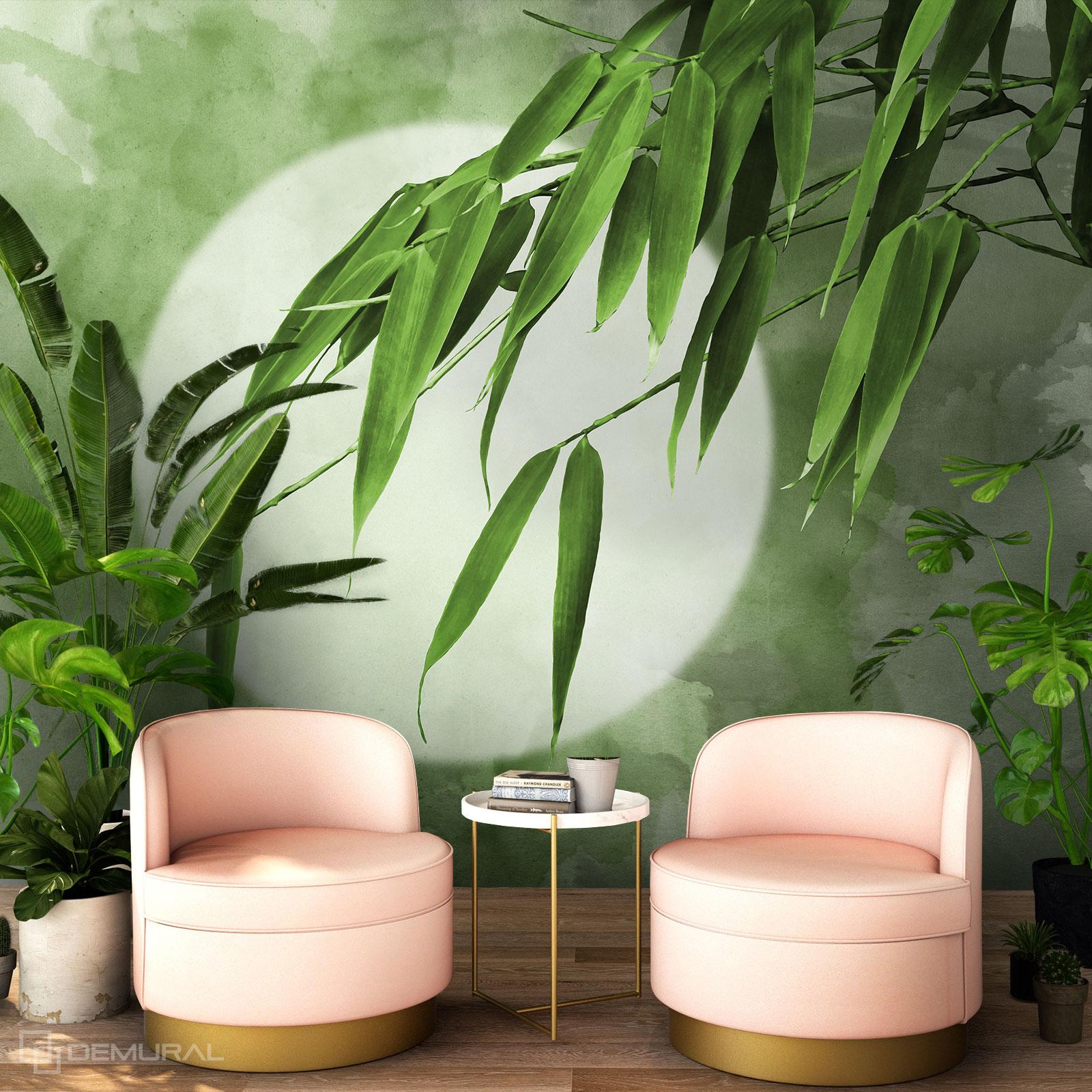 Papier peint Sous les feuilles de bambou - Papier peint bambou - Demural