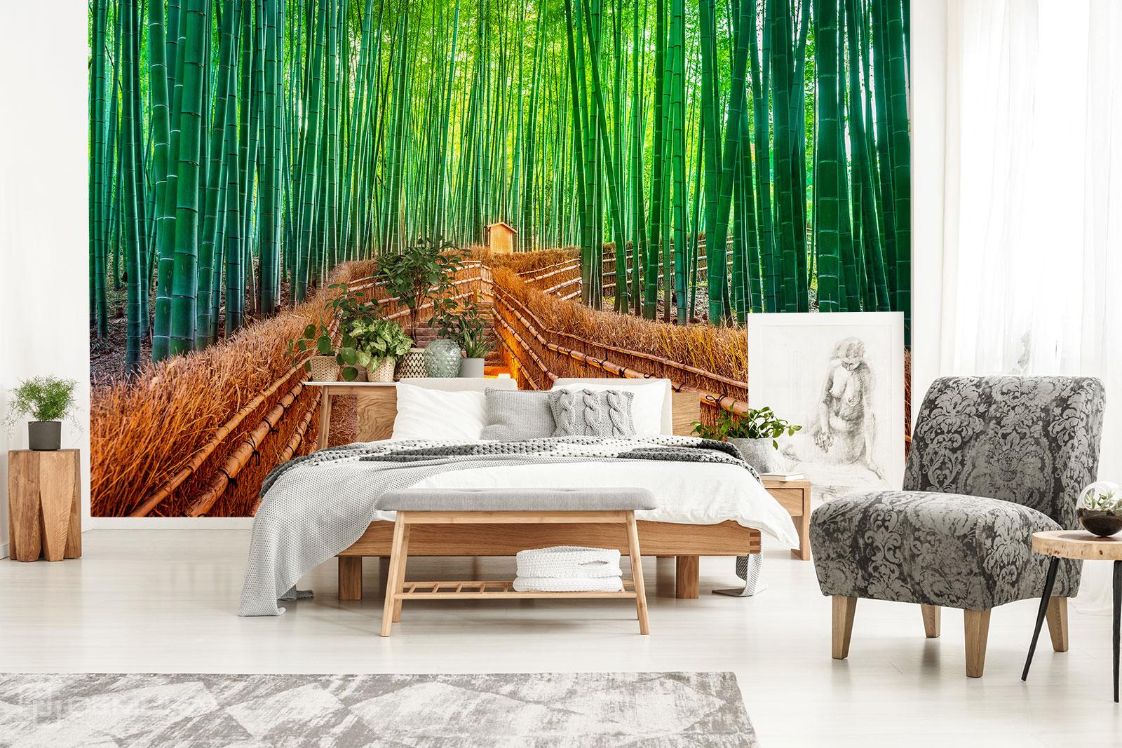 Papier peint Escalier dans une forêt de bambous - Papier peint bambou - Demural