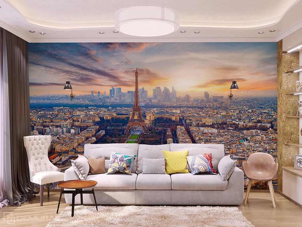 Papiers peints Soirée parisienne -papier peint avec la tour Eiffel - Demural
