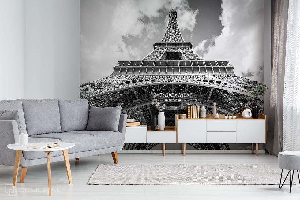 Papier peint tour eiffel noir et blanc - papier peint avec la tour Eiffel - Demural