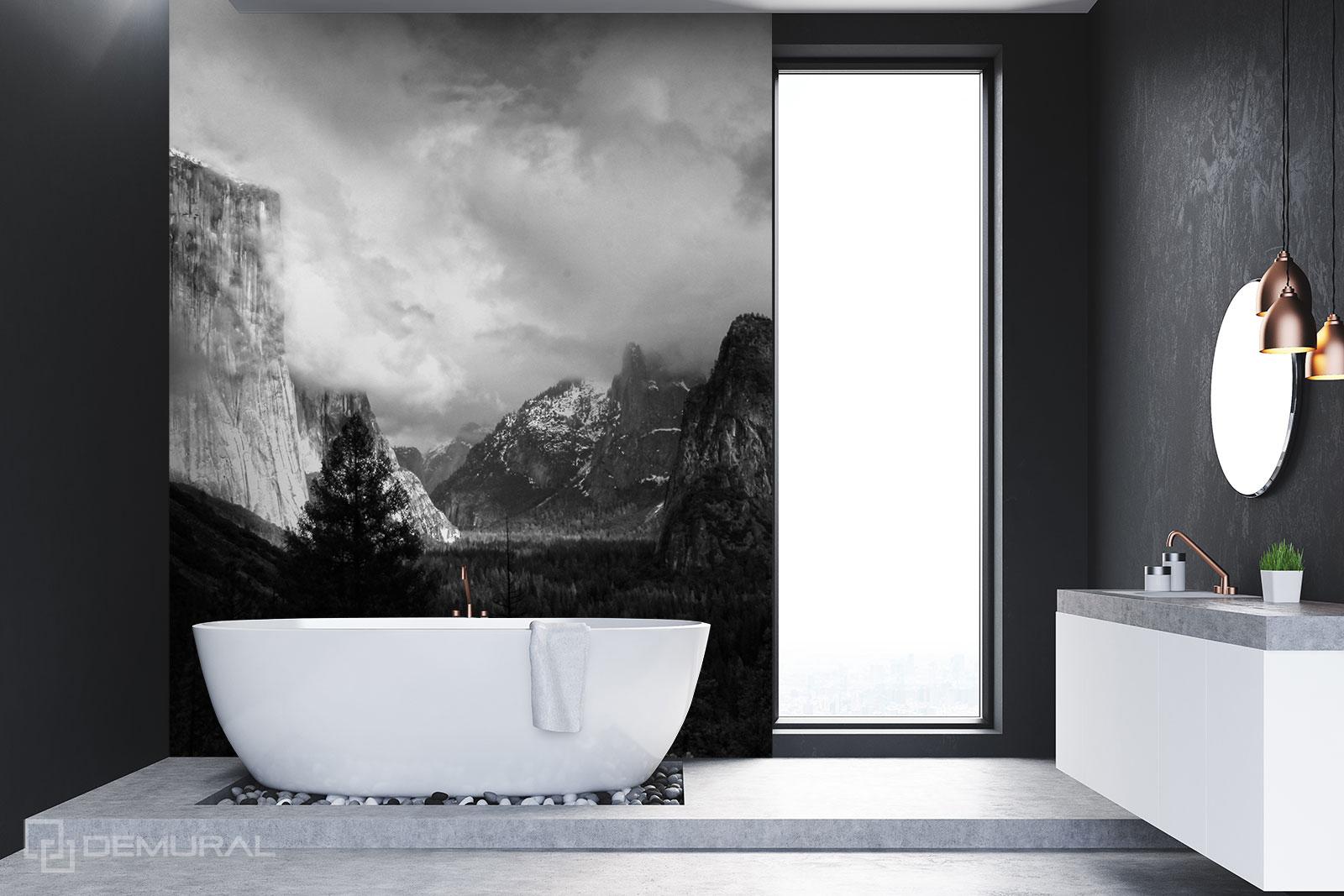 Papier peint Panorama des montagnes - Papier peint noir et blanc - Demural