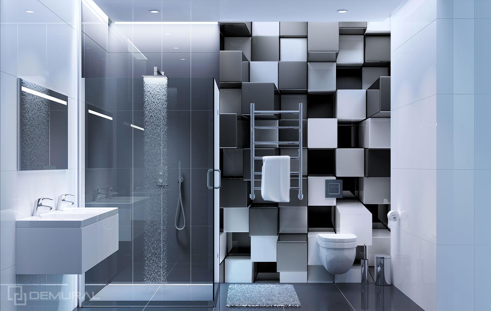 Papier peint  Cubes 3D - Papier peint noir et blanc - Demural