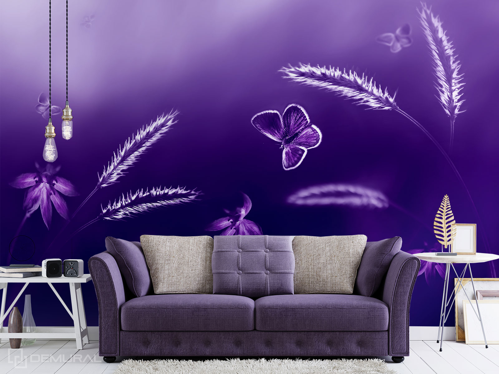 Papier peint Pré violet - Papier peint ultra violet - Demural