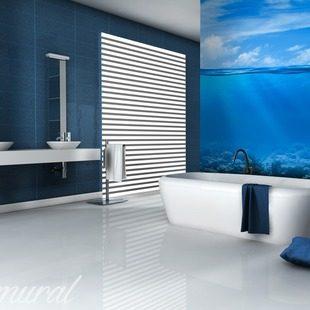 Douces mirages papier peint pour la salle de bain for Papier peint lessivable salle de bain