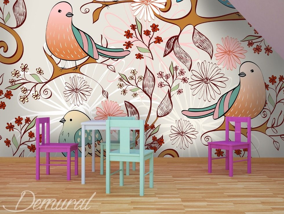 radio des oiseaux papier peint pour la chambre d 39 enfant papiers peints demural. Black Bedroom Furniture Sets. Home Design Ideas