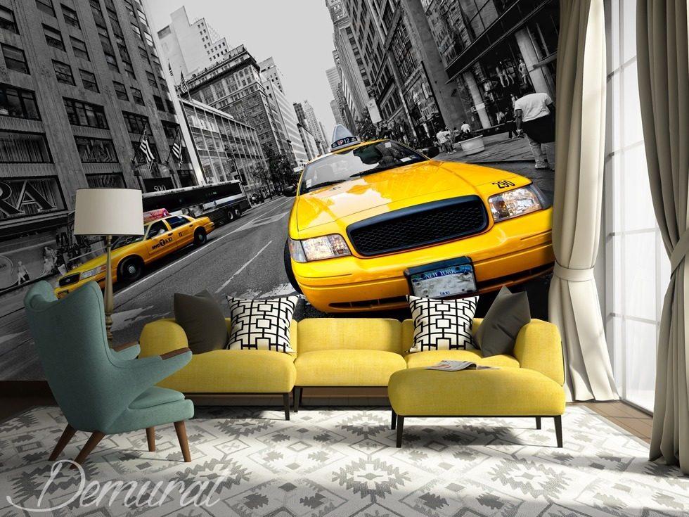 en taxi jaune travers new york v hicules papiers peints papiers peints demural. Black Bedroom Furniture Sets. Home Design Ideas