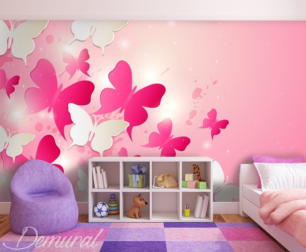 dans le royaume rose papier peint pour la chambre d 39 enfant papiers peints demural. Black Bedroom Furniture Sets. Home Design Ideas