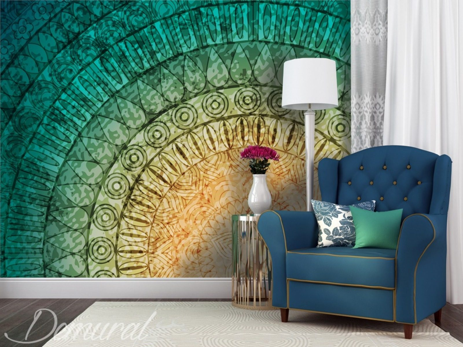 mandala sur le mur papiers peints abstraction papiers. Black Bedroom Furniture Sets. Home Design Ideas