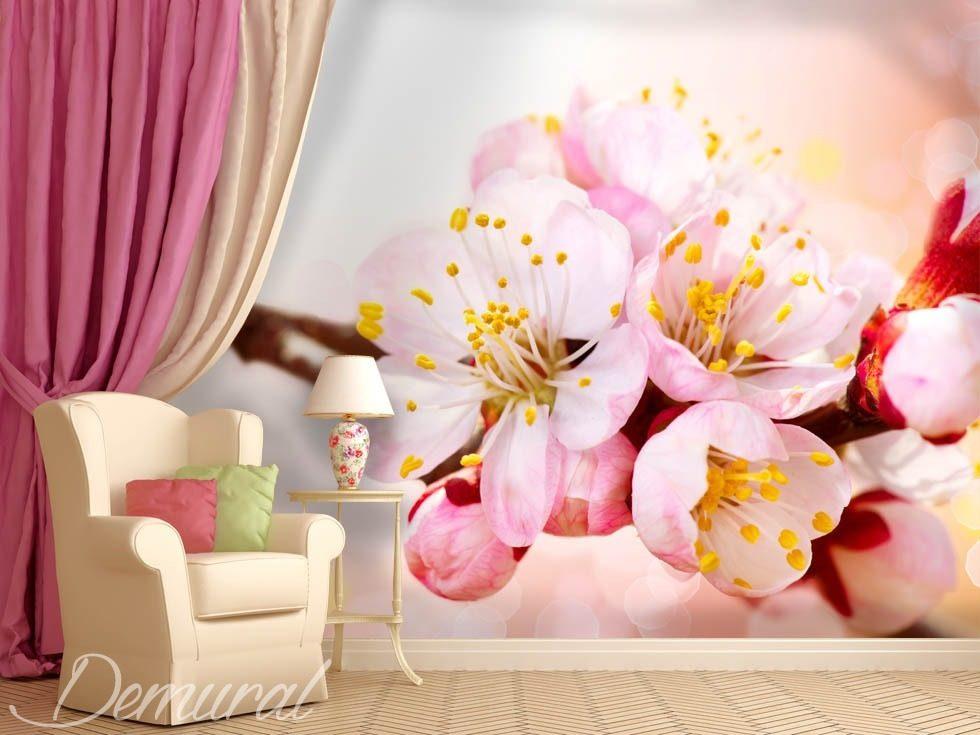 Coin fleurissant papier peint pour le salon papiers peints demural - Papier peint pour salon ...
