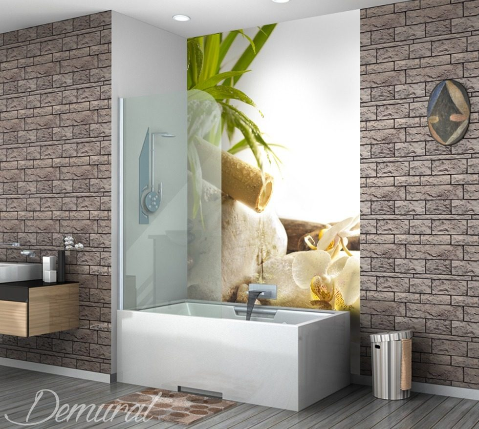 weekend dans le spa papier peint pour la salle de bain. Black Bedroom Furniture Sets. Home Design Ideas