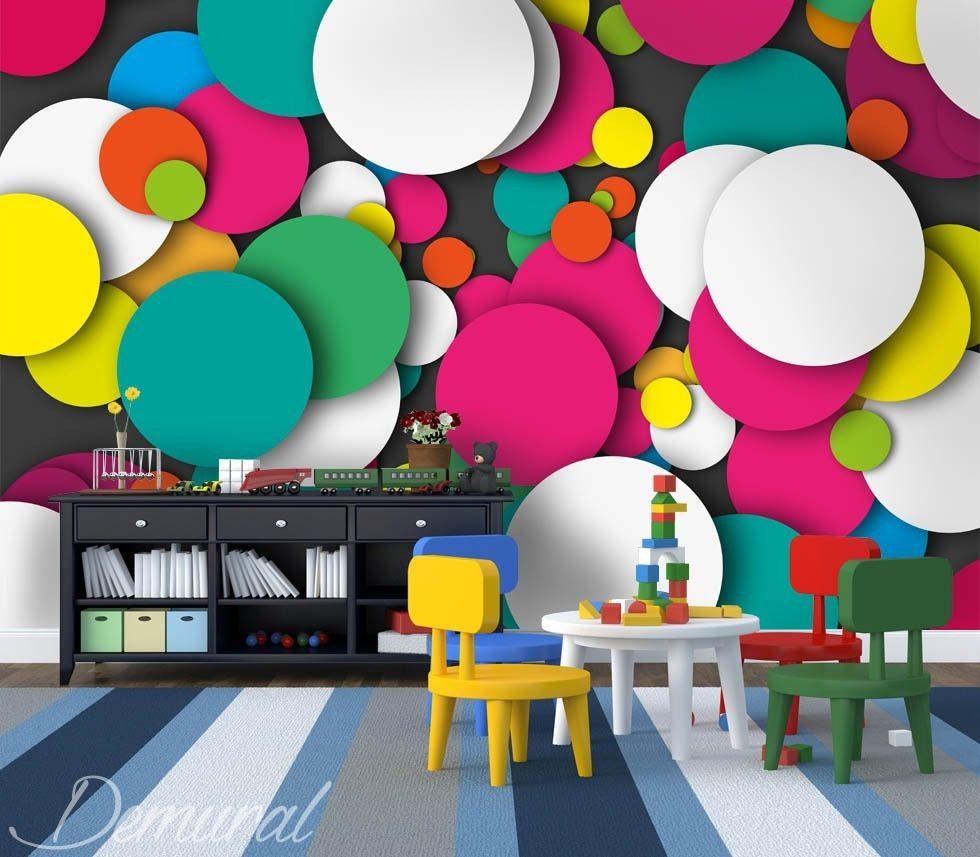 cal idoscope au mur papier peint pour la chambre d 39 enfant papiers peints demural. Black Bedroom Furniture Sets. Home Design Ideas