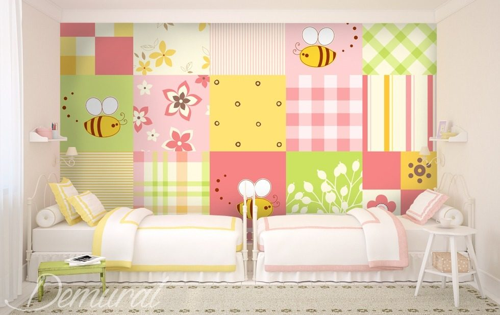 patchwork petit mais grand papier peint pour la chambre d 39 enfant papiers peints demural. Black Bedroom Furniture Sets. Home Design Ideas