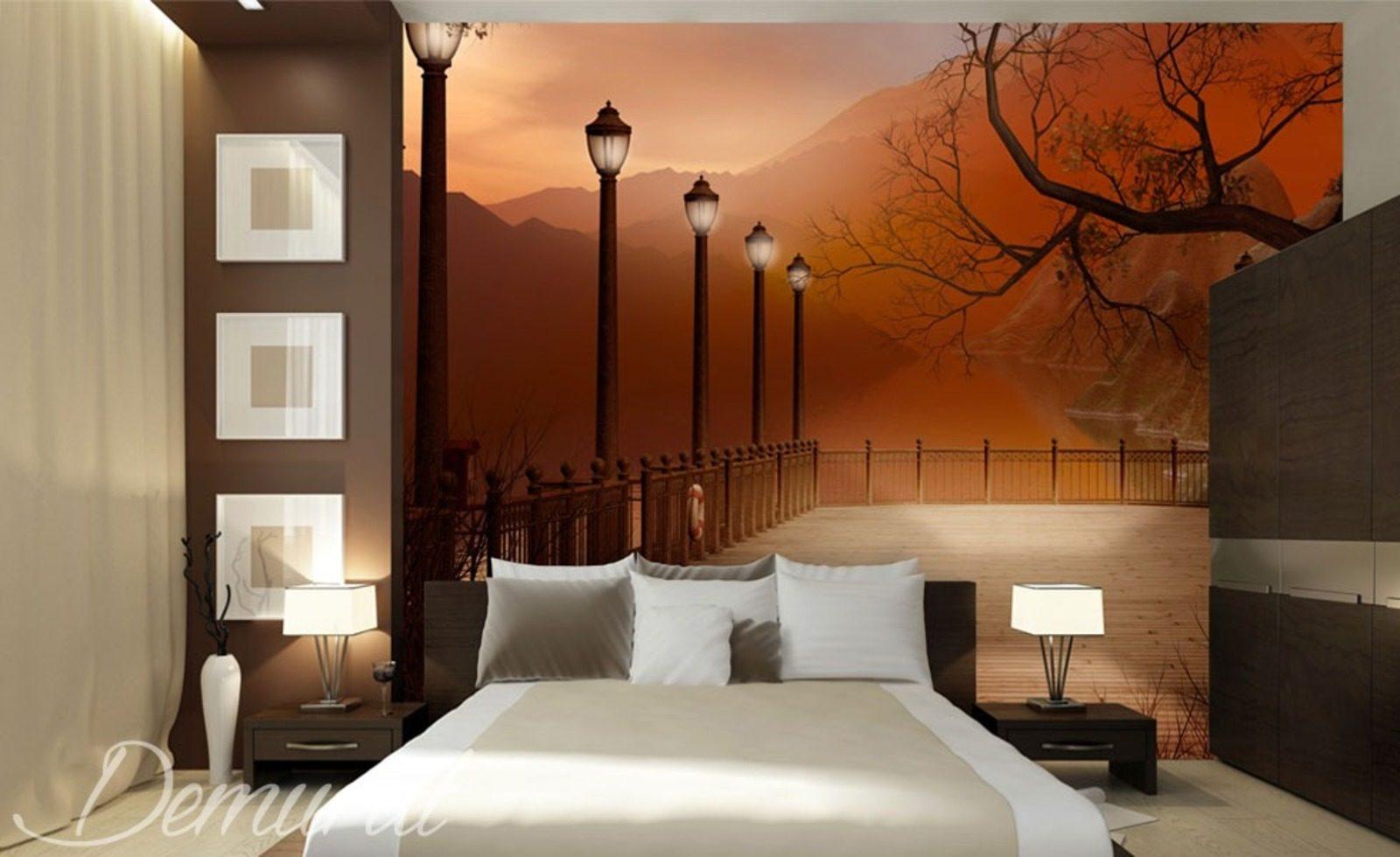 chambre coucher avec vue papier peint pour le chambres