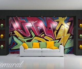 papiers peints graffiti demural. Black Bedroom Furniture Sets. Home Design Ideas