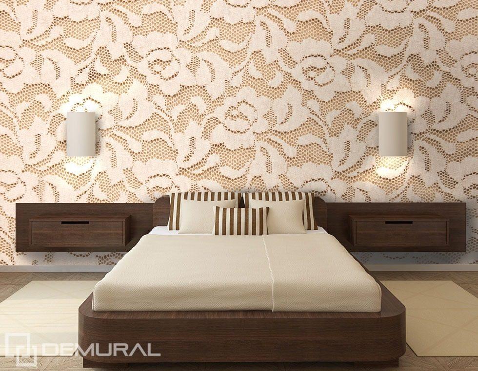 Roses en dentelle papier peint pour le chambres for Tapisserie pour chambre