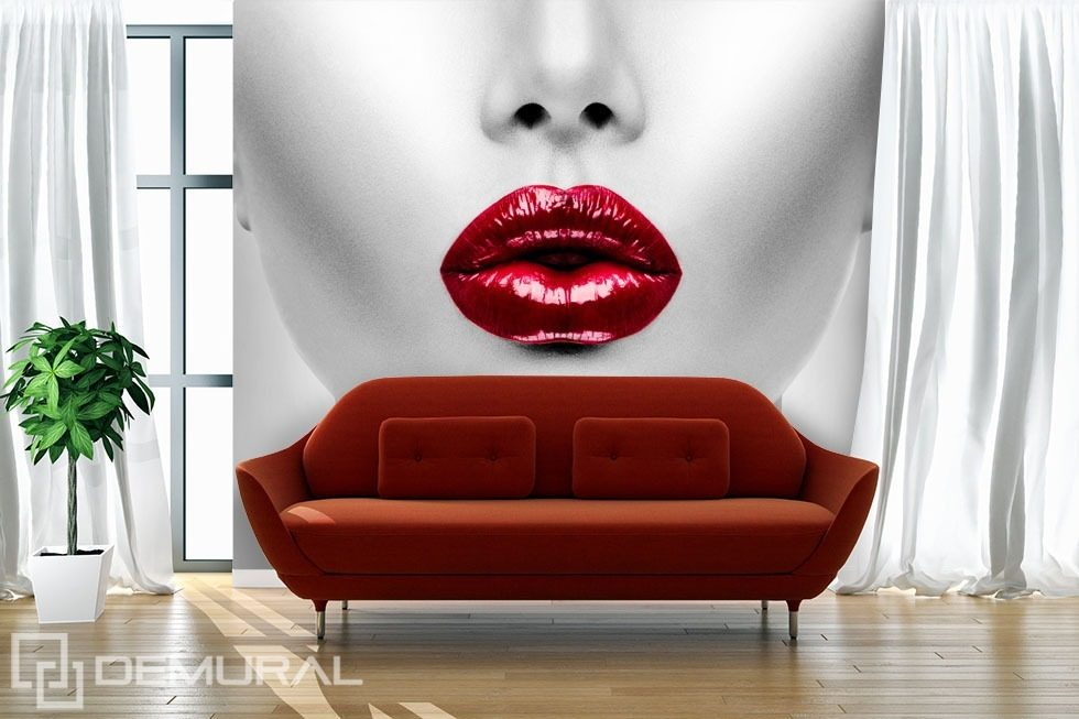 l vres rouges papier peint pour le salon papiers. Black Bedroom Furniture Sets. Home Design Ideas