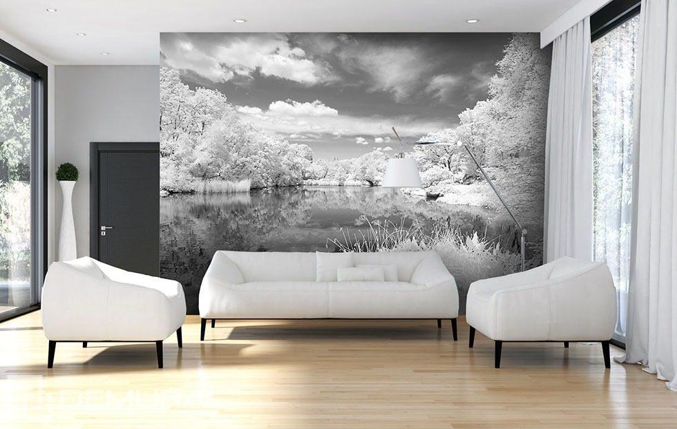 lac gris papiers peints noir et blanc papiers peints demural. Black Bedroom Furniture Sets. Home Design Ideas