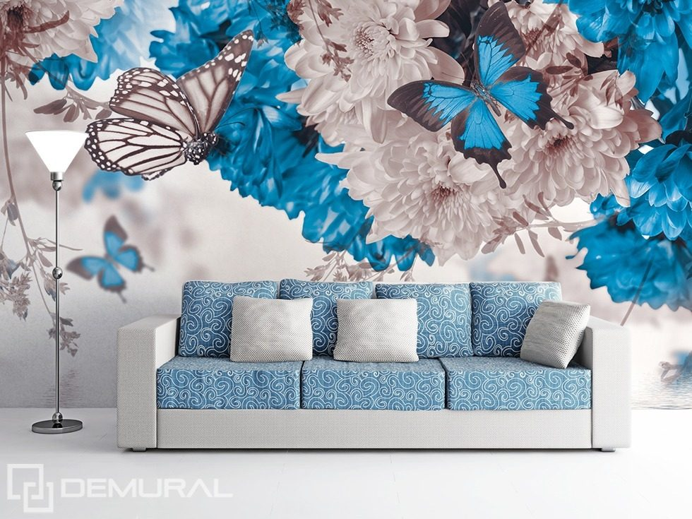 nature en blanc et bleu papiers peints fleurs papiers peints demural. Black Bedroom Furniture Sets. Home Design Ideas