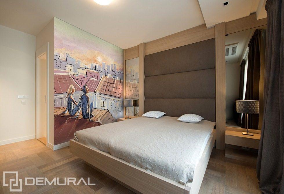 Rendez vous sur le toit papier peint pour le chambres coucher papiers peints demural - Papier peint pour chambre a coucher ...