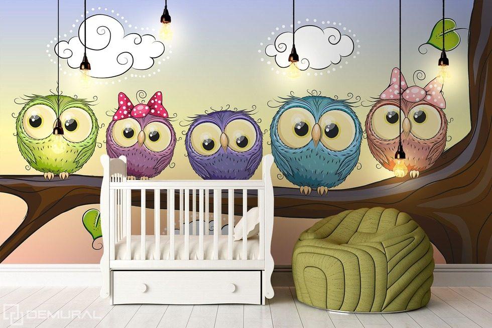 Hiboux disent bonne nuit papier peint pour la chambre d 39 enfant papiers peints demural - Papier peint chambre d enfant ...