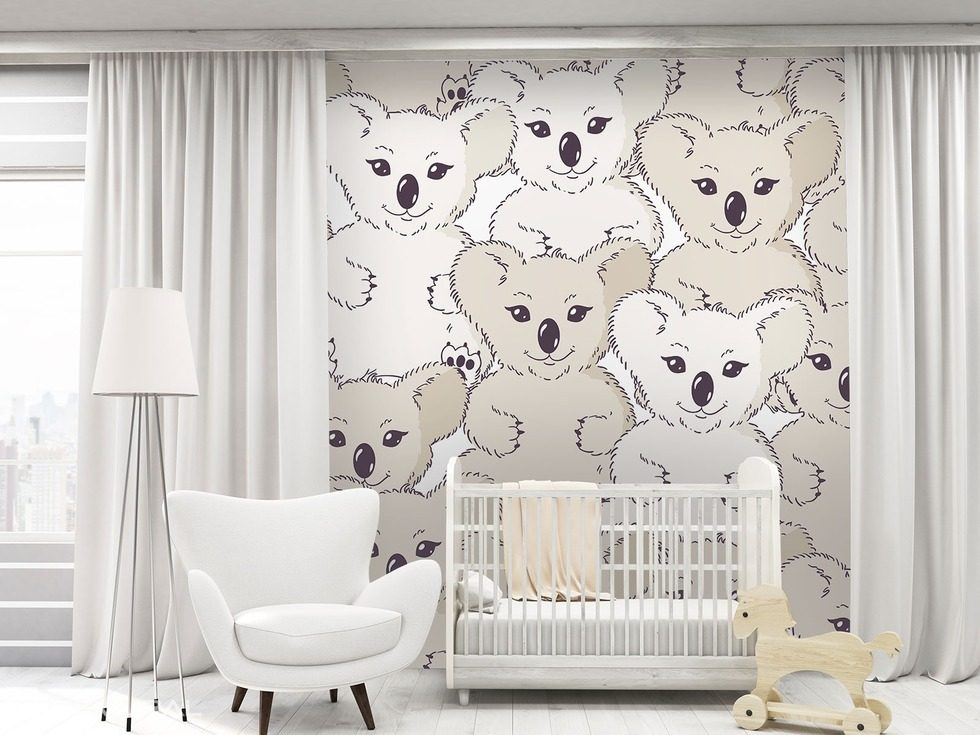 koala sur le mur papier peint pour la chambre d 39 enfant papiers peints demural. Black Bedroom Furniture Sets. Home Design Ideas