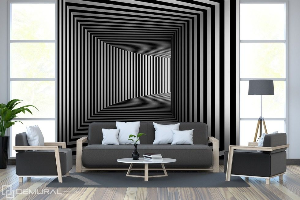 illusion en noir et blanc papiers peints noir et blanc papiers peints demural. Black Bedroom Furniture Sets. Home Design Ideas