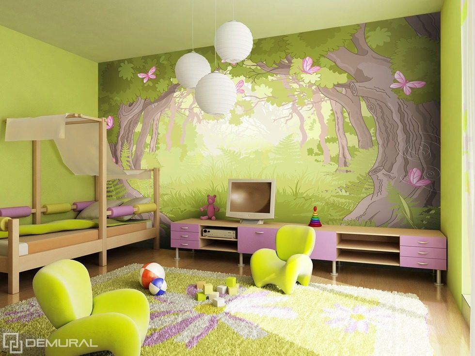 dans le monde de la for t magique papier peint pour la chambre d 39 enfant papiers peints demural. Black Bedroom Furniture Sets. Home Design Ideas